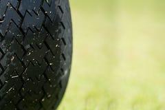 关闭多虫的汽车轮子在高尔夫球场 免版税库存照片