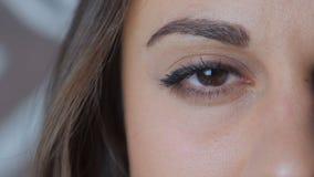 关闭大妇女` s褐色眼睛 股票录像