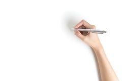 关闭妇女与金属笔的胳膊文字 隔绝在whi 免版税库存图片