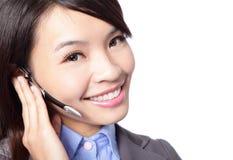 关闭妇女客户支持运算符 免版税库存照片