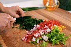 关闭妇女烹调在厨房里的` s手 切新鲜的沙拉的主妇 素食主义者和健康烹调 库存照片