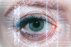 关闭妇女眼睛在扫描的过程中 免版税库存照片