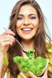 关闭妇女面孔画象女性健康饮食概念的 免版税图库摄影