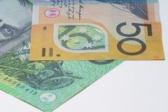 关闭宏观澳大利亚人笔记金钱 库存照片