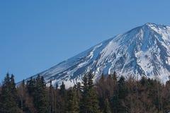 关闭富士山或Mt 富士用白色雪盖了在季节性的冬天在日本 库存照片