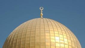 关闭岩石清真寺的被镀金的圆顶在耶路撒冷 库存图片