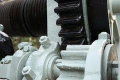 关闭工厂机器齿轮 设备的图象有系统的 免版税库存照片