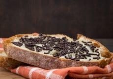 关闭巧克力洒在切的面包 免版税库存图片