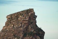 关闭巨大的在日落天空, hendaye的峭壁岩石被腐蚀的纹理 免版税库存图片