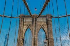 关闭布鲁克林大桥的看法在纽约NY 库存图片