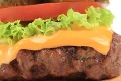 关闭开胃乳酪汉堡 宏指令 免版税图库摄影