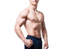 关闭性感的男性胸腔 库存图片