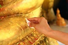 关闭手,做是传统泰国和信念佛教徒文化的优点 免版税图库摄影