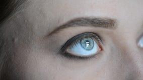 关闭投入在式样` s眼睛和眉头的构成的化妆师有一个红色成熟蕃茄的cosmeticmacro图象的在一绿色vin的 股票视频