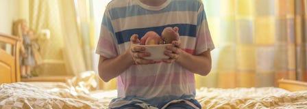 关闭拿着一块板材用新鲜的未加工的果子苹果的手在床上早晨f 免版税图库摄影
