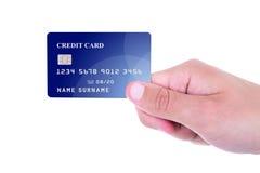 关闭拿着信用卡的男性手被隔绝在白色 库存照片