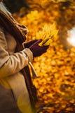 关闭拿着黄色秋天槭树的花束妇女手在她手套的手离开 用金黄报道的地面 免版税库存照片