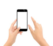关闭接触在电话被隔绝的白色裁减路线ins的手 免版税库存图片