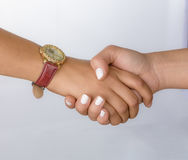 关闭握手的企业夫妇 免版税库存照片