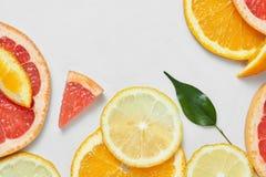 关闭新桔子、葡萄柚、石灰和柠檬切片 免版税库存图片