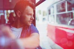 关闭旅行在公共汽车上的人 免版税图库摄影