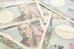 关闭日元货币钞票的图象 免版税库存照片