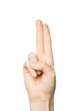 关闭显示两个手指的手 库存图片