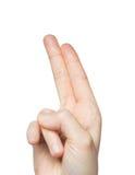 关闭显示两个手指的手 免版税库存照片