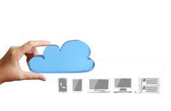 关闭显示云彩计算的图的手 图库摄影