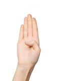 关闭显示五个手指的手 免版税库存照片