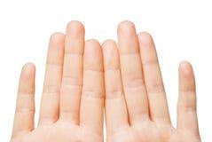 关闭显示八个手指的手 免版税库存照片
