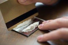 关闭有可卡因药物药量的上瘾者 免版税库存照片