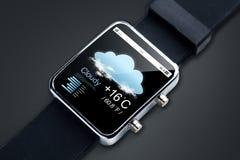 关闭有天气预报的app巧妙的手表 库存图片
