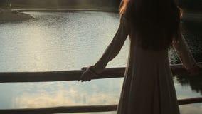 关闭有太阳的美丽的深色的女孩在她的头发 站立在码头的幼小森林若虫和享用 股票录像