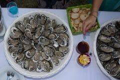 关闭有新鲜的被去外皮的牡蛎盘子的服务器用担当开胃菜柠檬 免版税库存照片