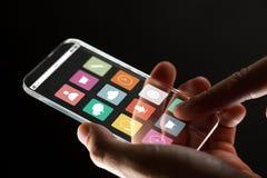 关闭有玻璃智能手机的商人手 免版税库存照片