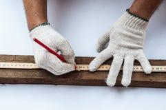 关闭有统治者的木匠手和penceil为木切口做准备 库存图片