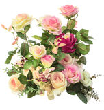 关闭桃红色玫瑰花花束被隔绝的白色背景 免版税库存照片