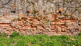 关闭残破的砖墙 免版税库存图片