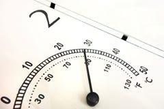 关闭气温指示器 在摄氏和华氏标度与黑针和数字 有上限值的温度计 免版税图库摄影