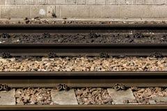 关闭水平的火车轨道 图库摄影