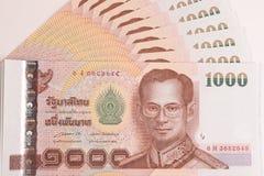 关闭泰国钞票,与泰国国王普密蓬・阿杜德的图象的泰国浴钞票 库存照片