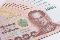 关闭泰国钞票,与泰国国王普密蓬・阿杜德的图象的泰国浴钞票 免版税库存图片