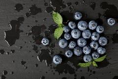 关闭洗涤了在黑人委员会的新鲜的蓝莓 免版税库存图片