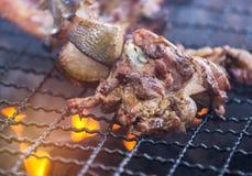 关闭烤肉烤在与明亮的火焰的木炭格栅的猪排 库存图片