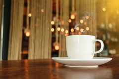关闭热的咖啡早晨天 免版税图库摄影