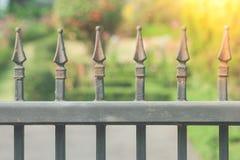 关闭生铁篱芭或金属篱芭在与绿色庭院的入口和阳光在背景中 免版税库存图片