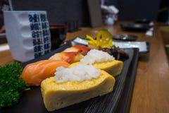 关闭生鱼片寿司集合 免版税库存图片