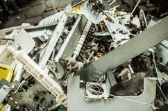 关闭电子回收的一台小型计算机零件 免版税库存照片