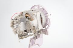 关闭电扇马达有尘土白色背景 库存照片
